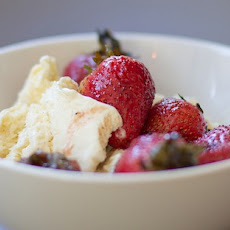 Grilled Strawberries Over Vanilla Ice Cream