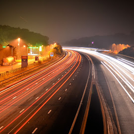 Road by Alan Bryce - Landscapes Travel ( red, motorway, long exposure, road, light )