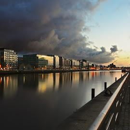 Storm is coming by Daniel Dudek-Corrigan - City,  Street & Park  Street Scenes ( liffery, ireland, dublin, dramatic, night, drama, evening, dusk, city, river )