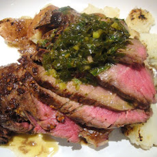 Pan-Fried Sirloin with Smashed Potatoes and Anchovy Sauce