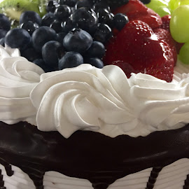 Yum! by Lope Piamonte Jr - Food & Drink Cooking & Baking ( cake, chocolate drippings, fruits, white, frosted )