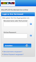 Screenshot of discoPLUS  Servicewelt