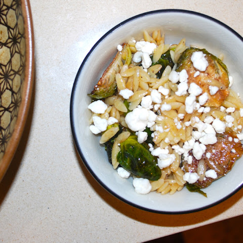 Lemon Orzo with Brussel Sprouts and Goat Cheese