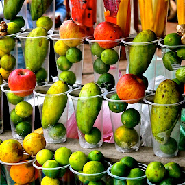 Fruit Stand, Chiapas by Elizabeth M - Food & Drink Fruits & Vegetables ( #food #mango #lime #orange #apple #fruitstand #shakes #chiapas #mexico #colors #thirsty )
