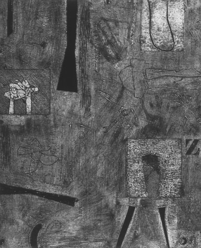 """<p> <strong>Bell</strong><br /> Collagraph on Stonehenge White<br /> 46"""" x 36 3/4"""" paper<br /> 40"""" x 32"""" image<br /> Edition 3<br /> 1992<br /> Private collections, West Vancouver; North Vancouver</p>"""
