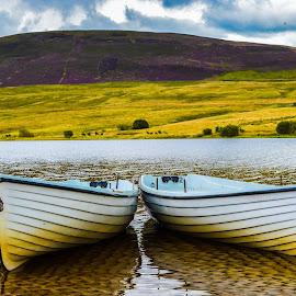 Shored row boats, Thriepmuir Reservoir by Lyndsay Hepburn - Transportation Boats ( mooredrowboats, rowboatsonresrvoir, reservoirboats, thriepmuirreservoirboats, boatsreservoirpentlands )
