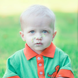 Silas and his cake by Jenny Hammer - Babies & Children Babies ( cake, green, smash, baby, cute, boy )