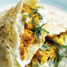 Tandoori Chicken Pittas With A Yoghurt And Mint Dressing