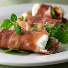 Prosciutto Rolls with Goat Cheese, Arugula and Fig Spread