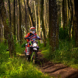 Between the light by Eko Probo D Warpani - Sports & Fitness Motorsports ( colour, forrest, jungle, color, indonesia, sports, motorcycle, cikole, landscape, bandung )