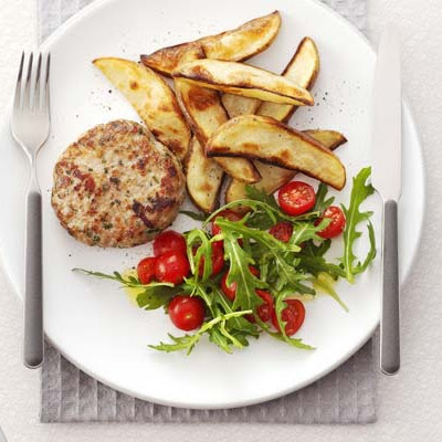 Italian Pork Patties With Potato Wedges