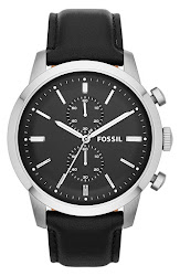 Fossil 'Townsman' Chronograph Leather Strap Watch, 48mm