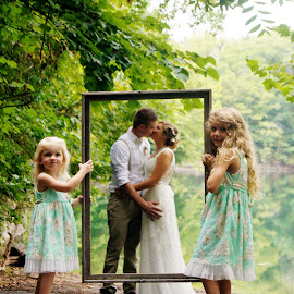 Picture Perfect by Shelly Barlow - Wedding Bride & Groom ( kiss, wedding photography, kissing, outdoor photography, wedding day, weddings, bride and groom, flower girl )