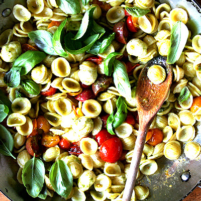 Orecchiette with Sautéed Cherry Tomatoes, Mozzarella and Basil Pesto