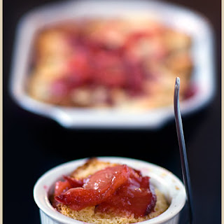 Cinnamon-Flavored Plum Brioche Pudding