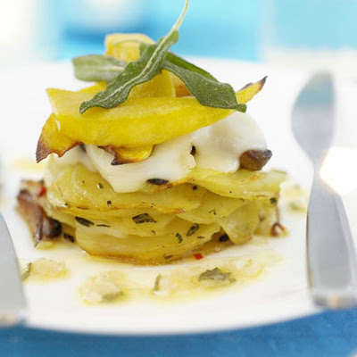 Chilli Potato Stack With Squash & Garlic Butter Sauce