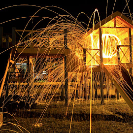 Steel Wool Photography by Chia Shu Ning - Abstract Light Painting ( playground, light painting, park, steel wool, night photography, steelwool, long exposure, night, fire )