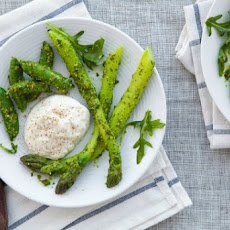Burrata with Asparagus, Sugar Snap Peas and Pistachio-Arugula Pesto