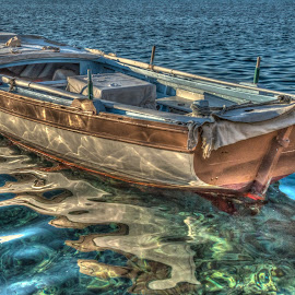 Boat by Monika Tržić - Transportation Boats ( reflection, blue, summer, sea, brown, transportation, boat )