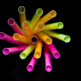drinking straws by Vibeke Friis - Artistic Objects Cups, Plates & Utensils ( magenta, coloured straws, green, yellow,  )