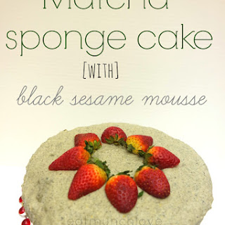Matcha Sponge Cake With Black Sesame Mousse