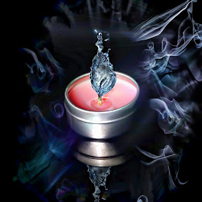 Cool smoke by JCstudios by John Cuthbert - Mixed Media All Mixed Media ( cool, water, jcstudios, canvas, heat, print, smoke, fire, flame, wall art, wow, damp, poster, dark, hot, wet, light )