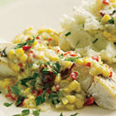 Halibut with Corn Gravy and Chive Mashed Potatoes