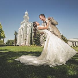 Bride and Groom by Shane Egan - Wedding Bride & Groom ( temple, bridal, dip, dress, wedding, bride and groom, bride, groom )