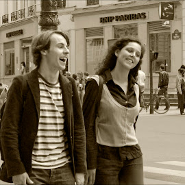 Happy in Paris by Jacob Padrul - People Couples ( love, paris, sepia, couple, beautiful people, date, young couple, together, smiling )