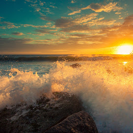 Crash by Isaac Purcell - Landscapes Waterscapes ( goldcoast, waves, australia, sunrise, beach, surf, rocks )
