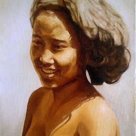 BALINESE GIRL.Taken from black & white old fotograph , 2 hours practice. by Edi SP - Painting All Painting