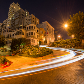 San Francisco Lombard Street at night by Kathy Dee - City,  Street & Park  Street Scenes ( lights, lombard street, auto lights, historic district, san francisco, city street, nightscape )