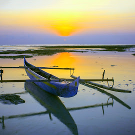 The Boat In Sunrise by Edwin Prihartanto - Transportation Boats