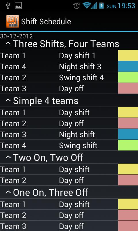 Shift Schedule + Alarm Clock Screenshot 2