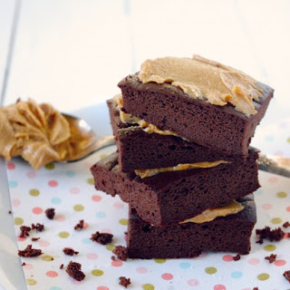 Flourless Chocolate Brownies with Salted Peanut Butter Topping (Gluten Free!)