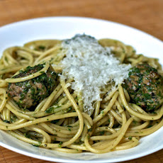 Dinner Tonight: Pasta with Green Meatballs and Herb Sauce
