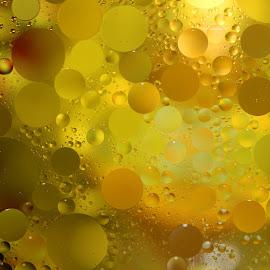 Golden Spheres by Janet Herman - Abstract Macro ( water, abstract, macro, yellow, golden, oil )