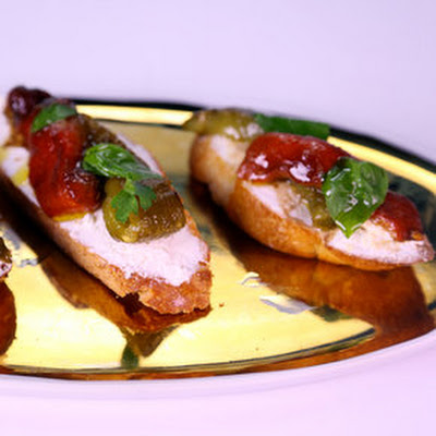 Fresh Ricotta & Roasted Pepper Bruschetta