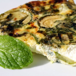 Easy-Omelet with Zucchini, Goat Cheese, and Mint