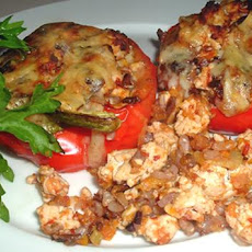 Felicity's Chicken Stuffed Red Bell Peppers