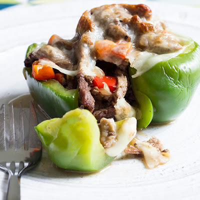 Skinny Cheesesteak Stuffed Peppers