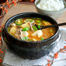 Beef Doenjang Jjigae, Korean soy bean paste stew with beef