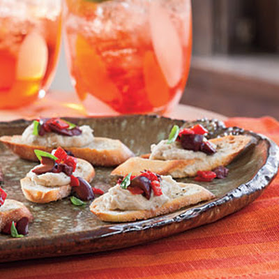 White Bean-and-Black Olive Crostini