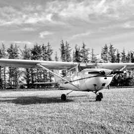 small airplane by Poul Erik Vistoft Nielsen - Transportation Airplanes ( clouds, plane, black and white, airplane, prop )