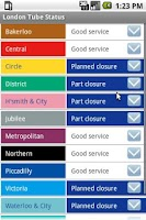 Screenshot of London Tube Status