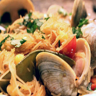 Skillet Rice Noodles with Clams, Snow Peas, and Corn