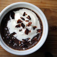 Spiced Chocolate Pots de Creme with Candied Bacon and Maple Cream