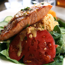 Smashed Berry-Infused Salmon Salad over Garlic Roasted Couscous