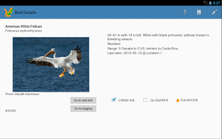 Screenshot of US Birding Checklist