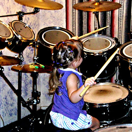 Ali playing Drums by Cindy Brown - Artistic Objects Musical Instruments (  )